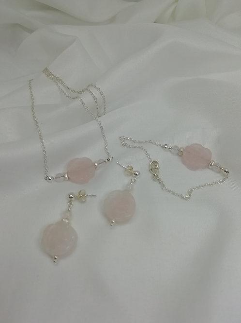Double Sided Carved Rose Quartz Rose set with Crystals Bracelet