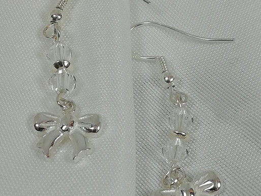 Handmade Pretty sterling silver bows with crystals earrings
