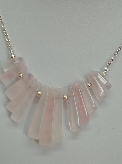 Rose quartz batons with sterling silver necklace
