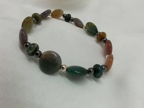 Handmade Hematite flower frames set with crystals bracelets