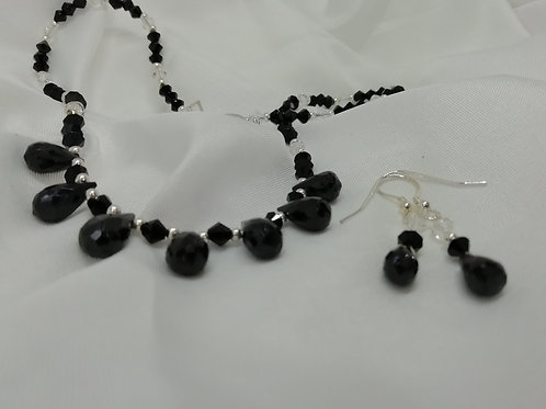 Faceted Black Spinel & Crystal Earrings