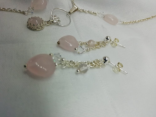 Rose Quartz & Crystal Earrings