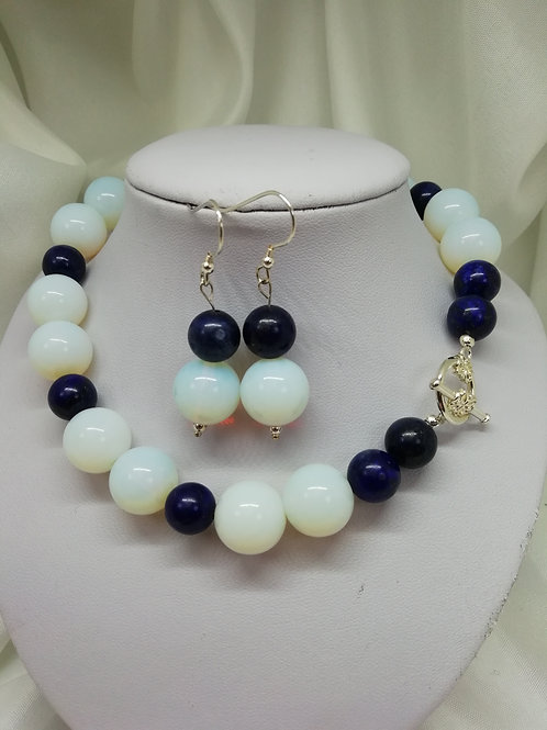 Handmade Chunky opaline and lapis lazuli beads with a silver necklace