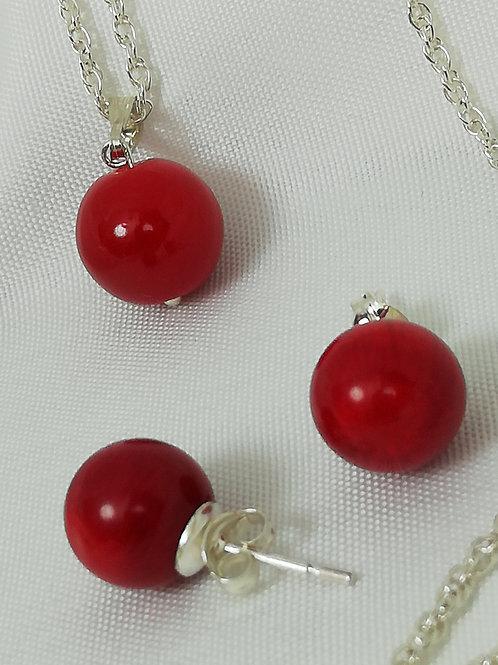 Red Coral Stud Earrings