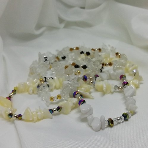 Gemstone Chips, Silver & Crystal  Bracelet