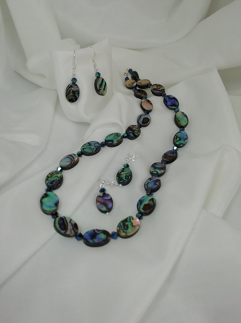 Beautiful paua shell ovals with metallic green crystal spacers in  full necklace