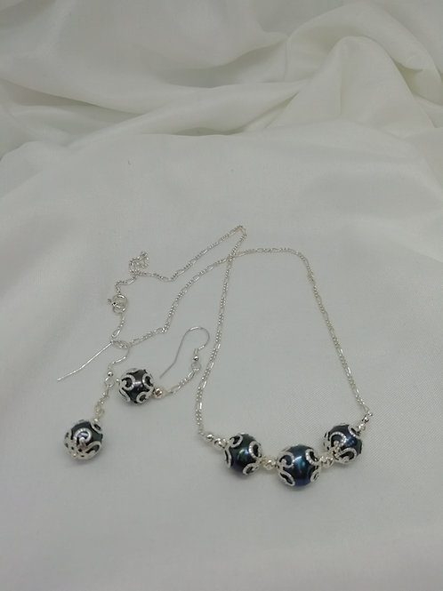 Handmade Freshwater peacock pearls with silver endcaps and sterling silver necklace