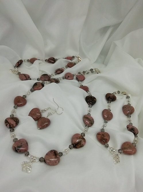 Handmade Pink jasper puffy hearts with crystals and silver necklace