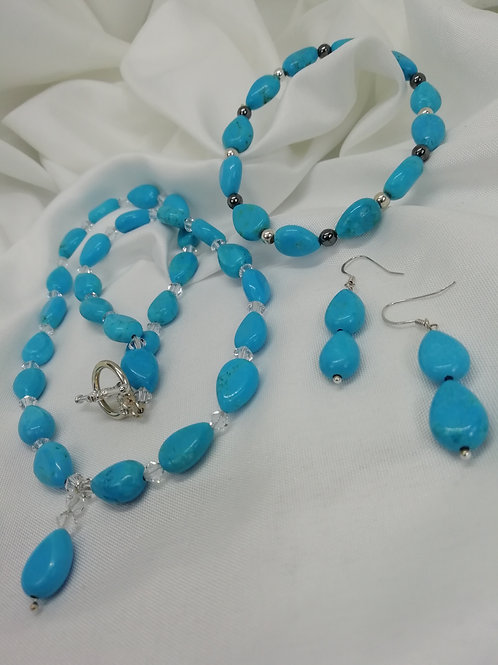 Handmade Blue magnasite hearts with crystals necklace