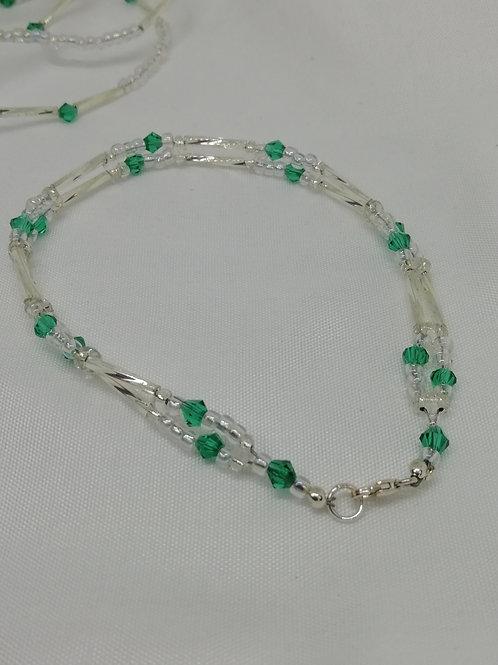 Crystal & Silver Double Row Bracelet