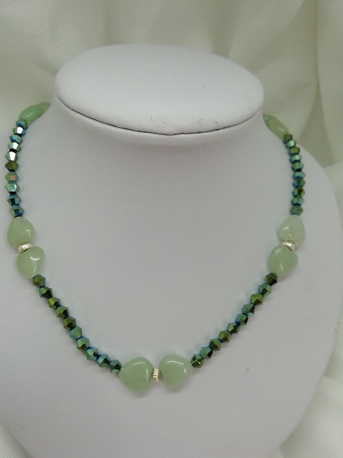 Handmade Jade puffy hearts in three double-heart sections set with sterling necklace