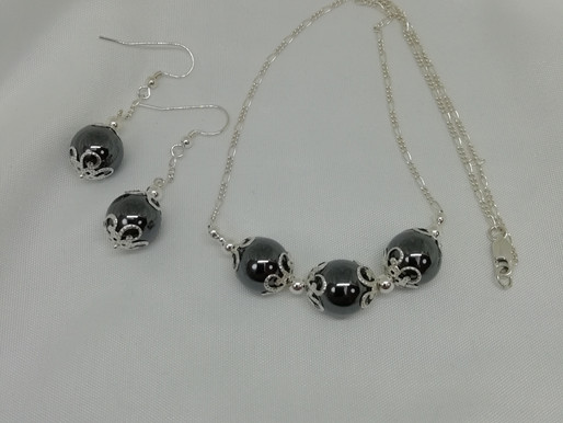 Handmade Large hematite beads with silver necklace