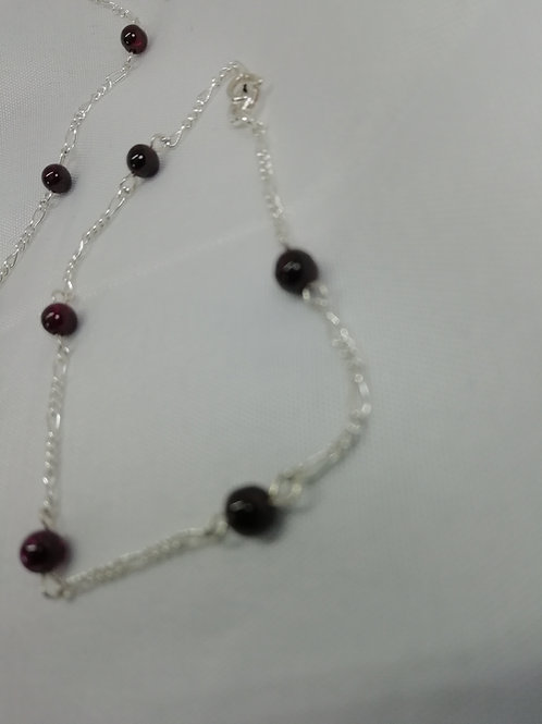 Garnet & Silver Figaro Bracelet