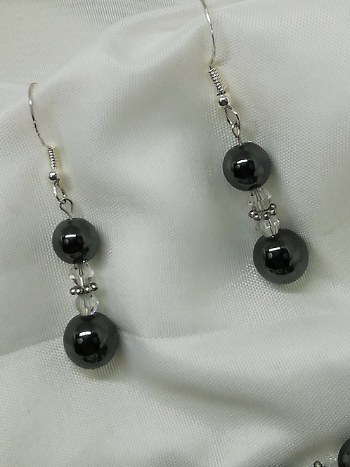 Hematite & Crystal Earrings