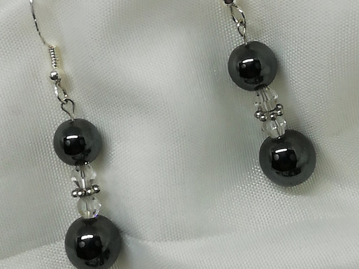 Handmade 2 hematite beads separated by crystals earring