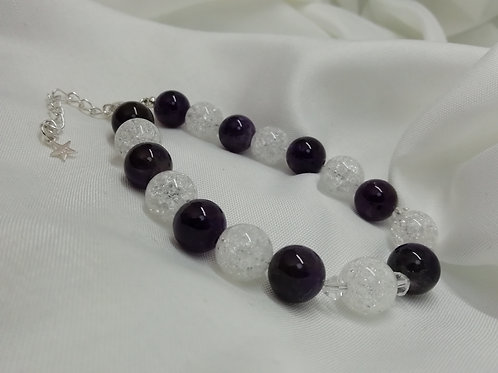 Amethyst & White Crackle Quartz Beads , Extender Chain Bracelet