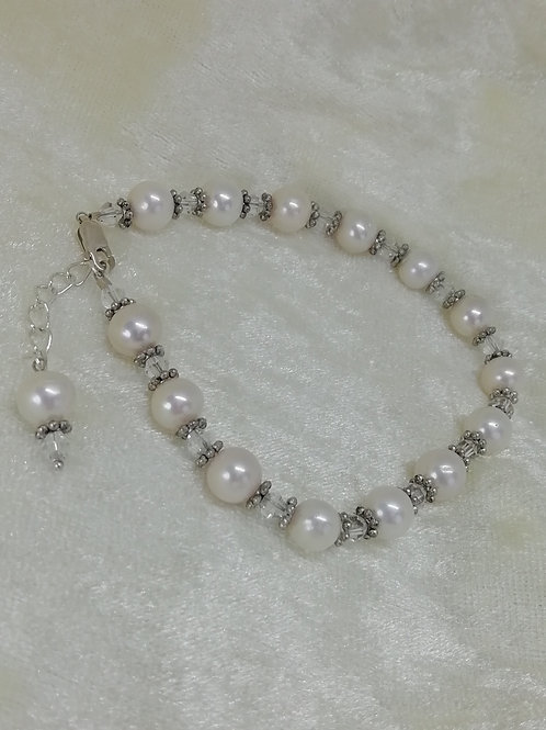 handmade natural Freshwater pearls with swarovski crystals and antique silver bridal bracelets