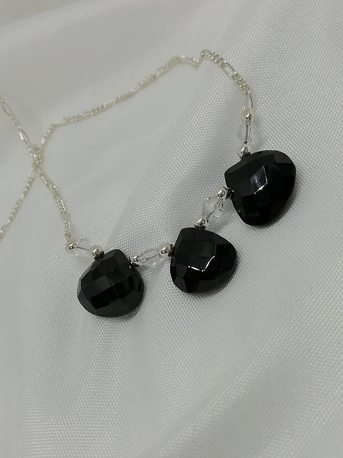 handmade Three trillian cut faceted black spinels set with clear crystals necklace