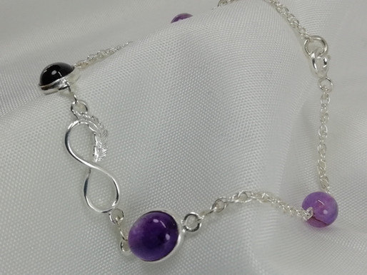 Handmade Oval amethyst cabochons bracelets