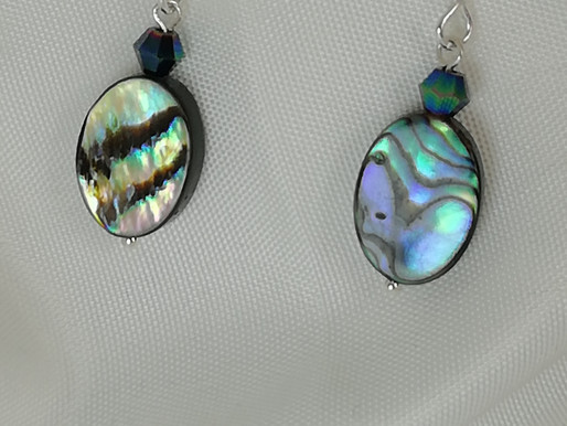 Handmade Paua shell ovals set with metallic green crystal and silver earrings