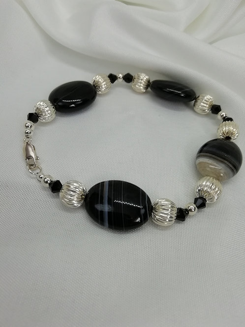 Banded Black Agate, Crystal & Silver Bracelet