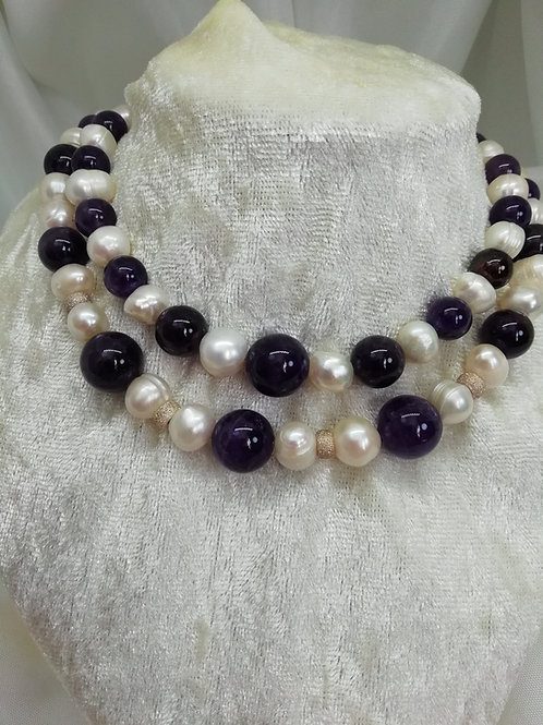 Hnadmade Amethyst beads and freshwater pearls with silver necklace