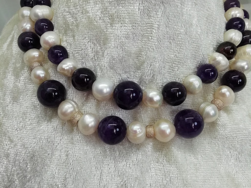 Handmade Amethyst beads and freshwater pearls with silver necklace