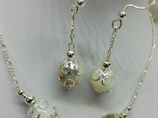 Handmade Banded agate beads with silver end caps on sterling silver shepherd's hooks