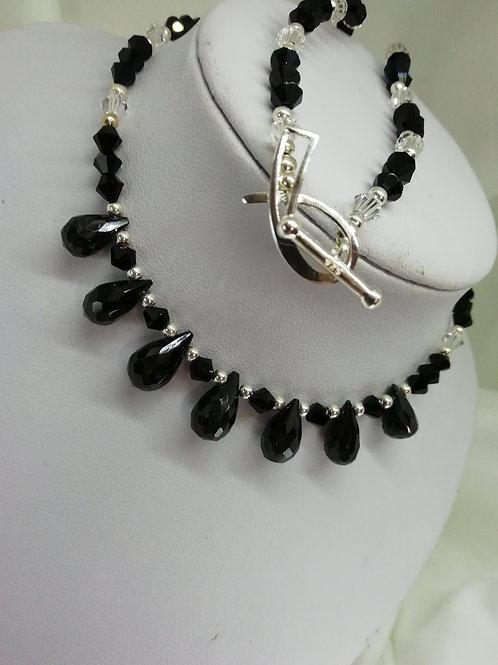 Black Spinel & Crystal Necklace