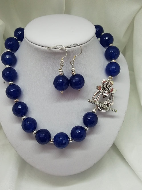 Handmade Faceted blue agate beads and sterling silver spacers necklace