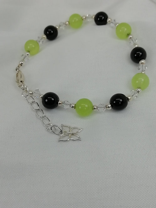 Handmade Jade and black onyx beads bracelets