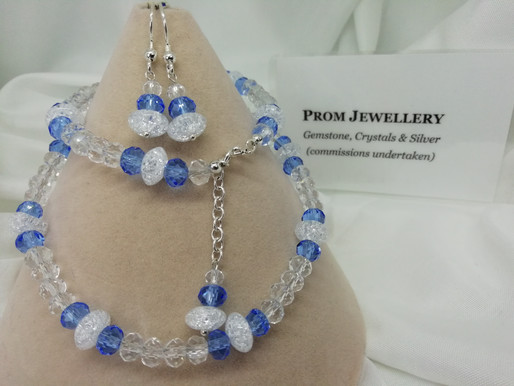 Handmade Pretty prom jewellery designed to appeal to young adults in a choice of colours