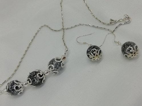 Crackle Quartz & Silver Necklace