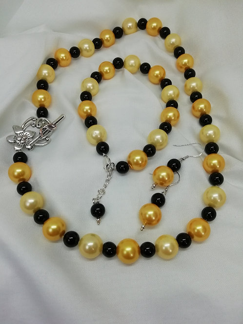Handmade Lemon and gold coloured shell pearl beads with smaller black necklace