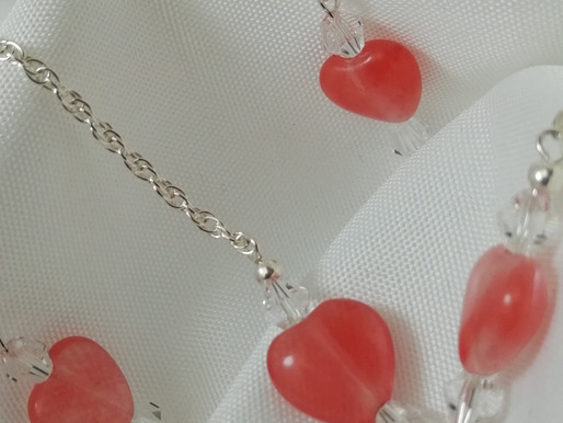 Handmade Pink quartz puffy heart earrings