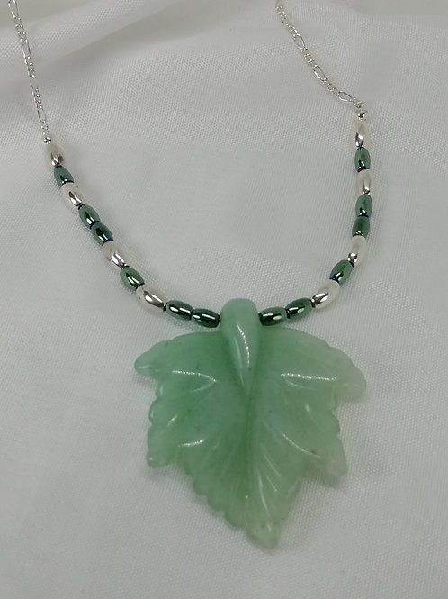 Handmade natural Unusual green aventurine maple leaf centred on a necklace
