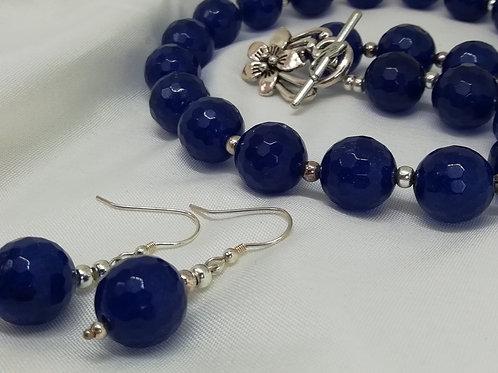Faceted Blue Agate Earrings
