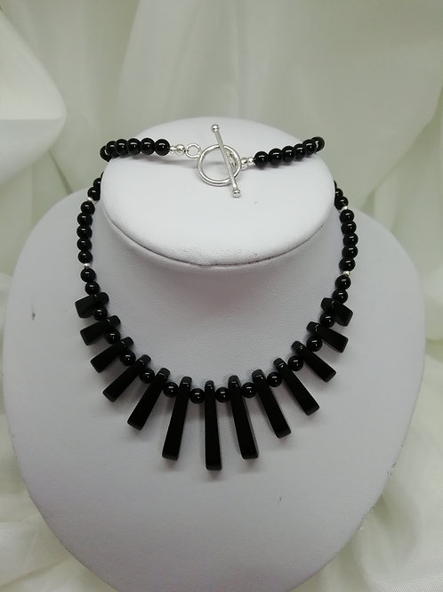 Black agate batons in a choice of settings, both with sterling silver necklace