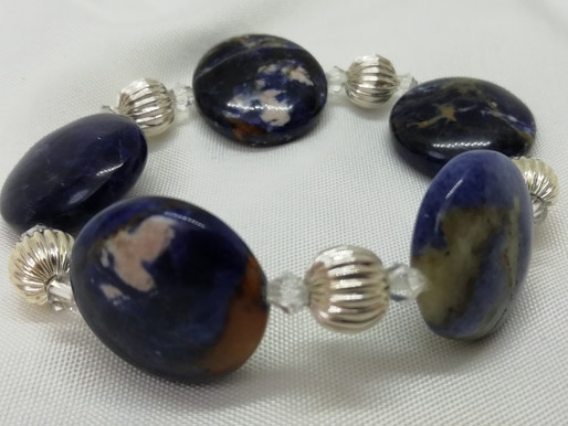 Handmade Large blue sodalite ovals with crystals and large ribbed silver beads bracelets