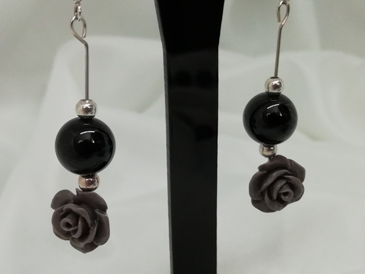 Handmade Black onyx beads set with grey coral rose and silver bead earrings
