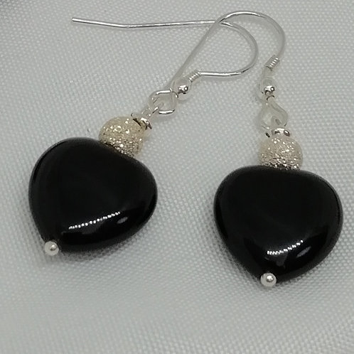 Black Agate & Stardust Silver Earrings