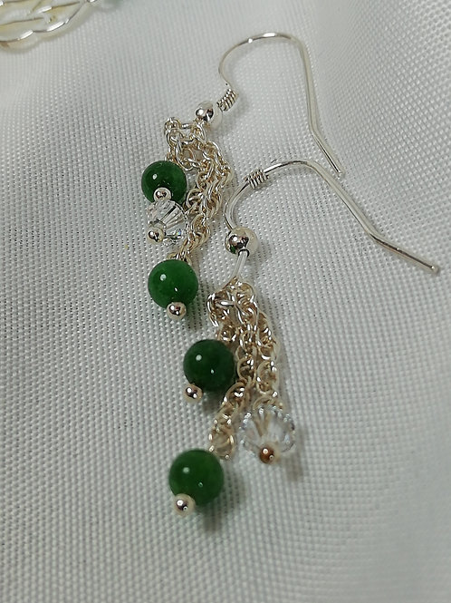 Green Onyx & Crystal Earrings