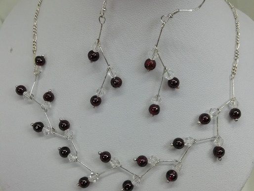 Handmade Dainty garnet beads with crystals set on sterling silver bars earrings
