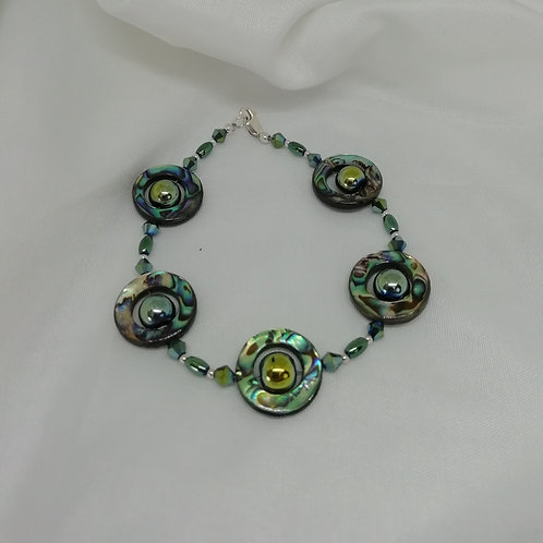 Paua Shell & Green Hematite Bracelet
