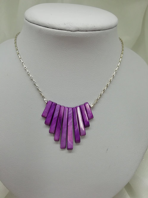 Lilac Shell Pearl & Silver Necklace