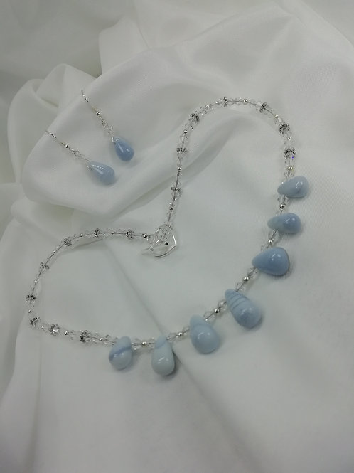 Handmade Beautiful graduated blue opal briolettes with sterling silver necklace