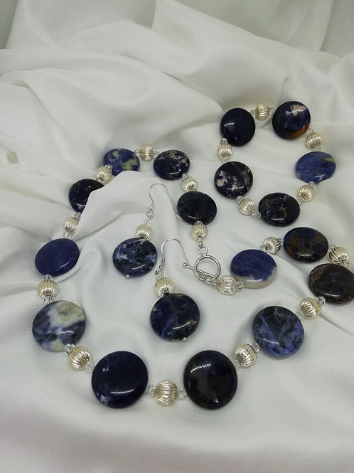 Handmade Pretty sodalite coins set with crystals and large sterling silver necklace