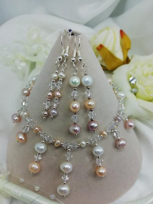 Peach, Lilac & Ivory Freshwater Pearl Earrings
