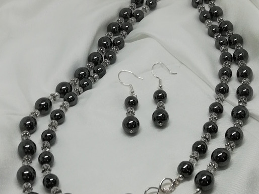 Handmade Hematite beads with crystals and antique silver necklace