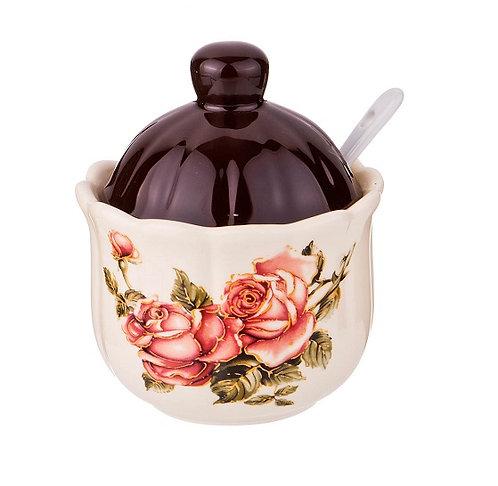Сахарница  с ложкой «Корейская роза»